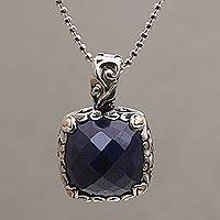 Gold accented sapphire pendant necklace, 'Majestic Eden' - Sapphire and Gold Accented Sterling Silver Pendant Necklace