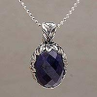 Gold accented sapphire pendant necklace, 'Regal Bouquet' - Sapphire and Gold Accented Sterling Silver Pendant Necklace