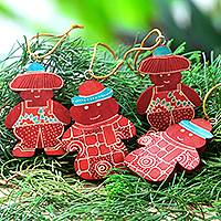 Wood batik ornaments, 'Red Snowmen' (set of 4) - Four Batik Wadang Wood Snowman Ornaments from Java