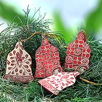 Wood batik ornaments, 'Red Bells' (set of 4) - Four Batik Wood Bell Ornaments from Java