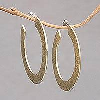 Brass half-hoop earrings, 'Infinity Yellow' - Textured Brass Half-Hoop Earrings with Sterling Silver Posts