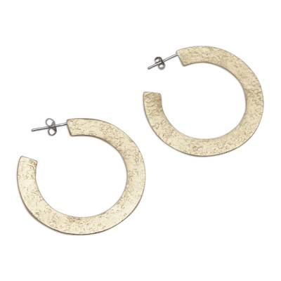 Textured Brass Half-Hoop Earrings with Sterling Silver Posts