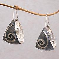 Sterling silver dangle earrings, 'Sailor Swirl' - 925 Sterling Silver Swirl Sails Dangle Earrings with Hooks