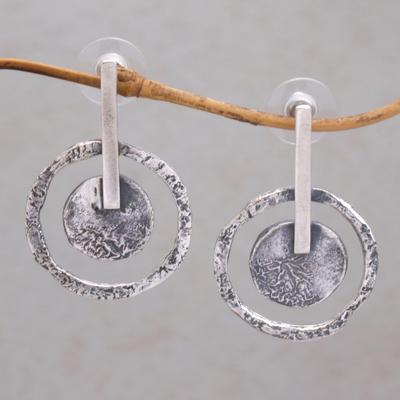 Sterling Silver Drop Earrings Joyous Circles 925 Circle