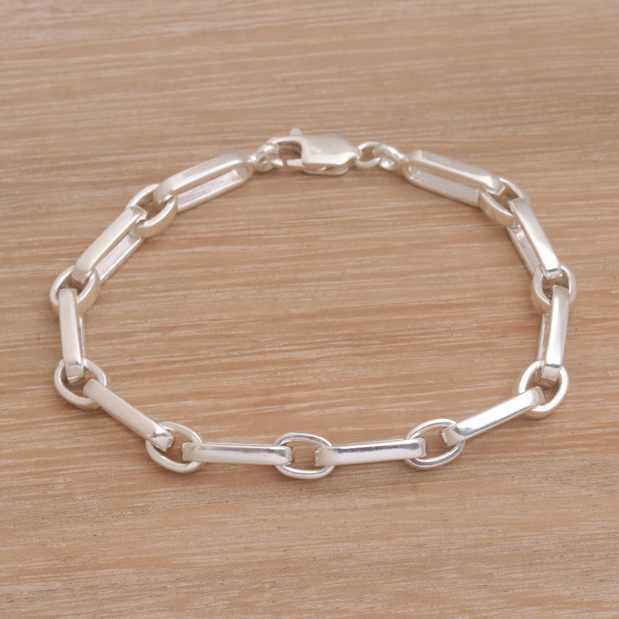 Handmade Sterling Silver Link Bracelet