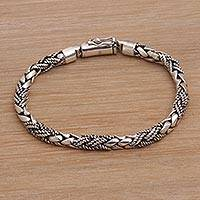 Sterling silver braided bracelet, 'Banded Krait' - Handmade Sterling Silver Braided Bracelet from Bali