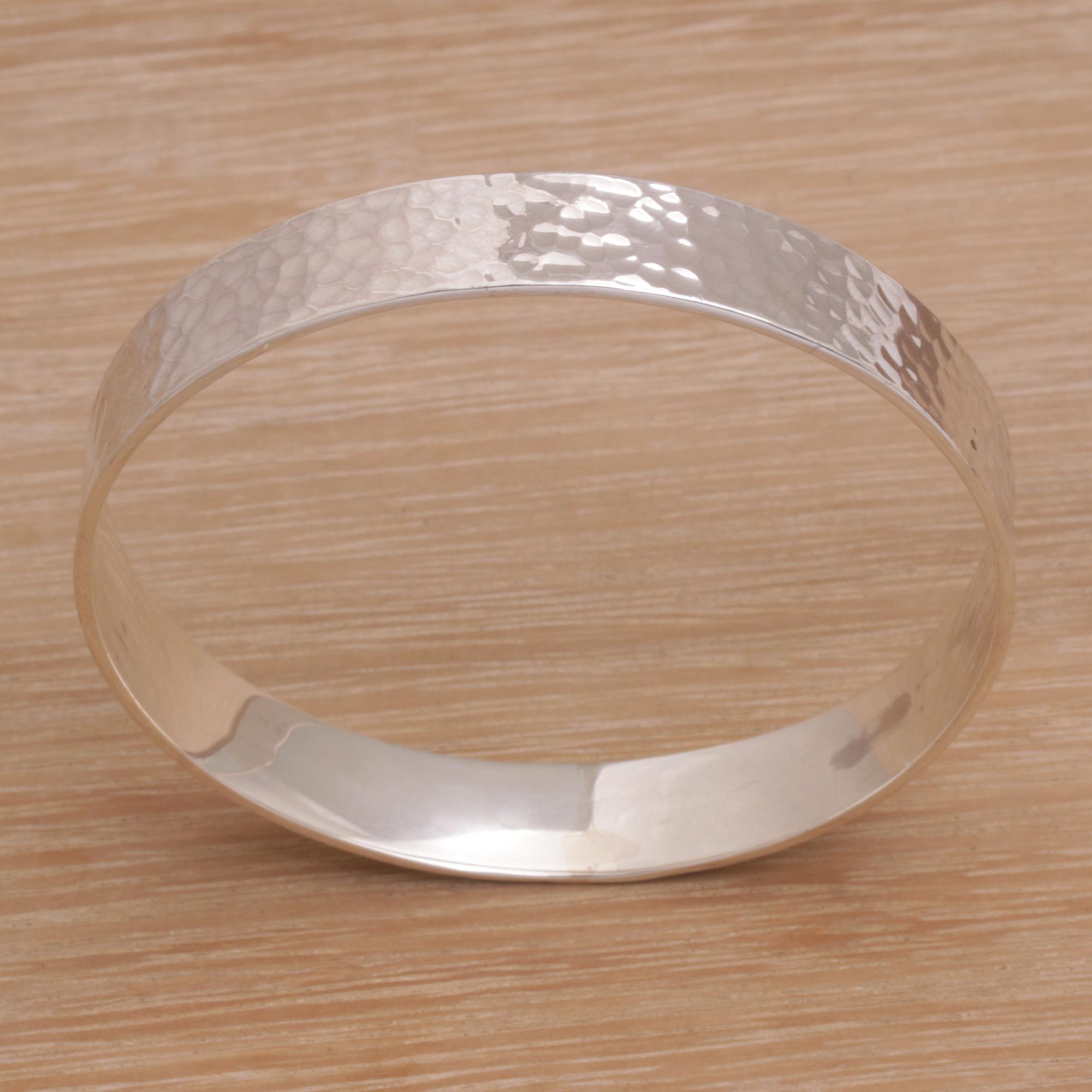 Silver Heart Charm Bangle Handmade Sterling Silver Hammered Bracelet Bangle