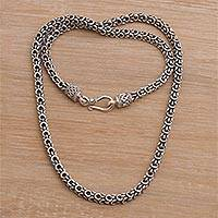 Men's sterling silver chain necklace, 'Sisik Charm' - Men's Handmade Sterling Silver Chain Necklace from Bali