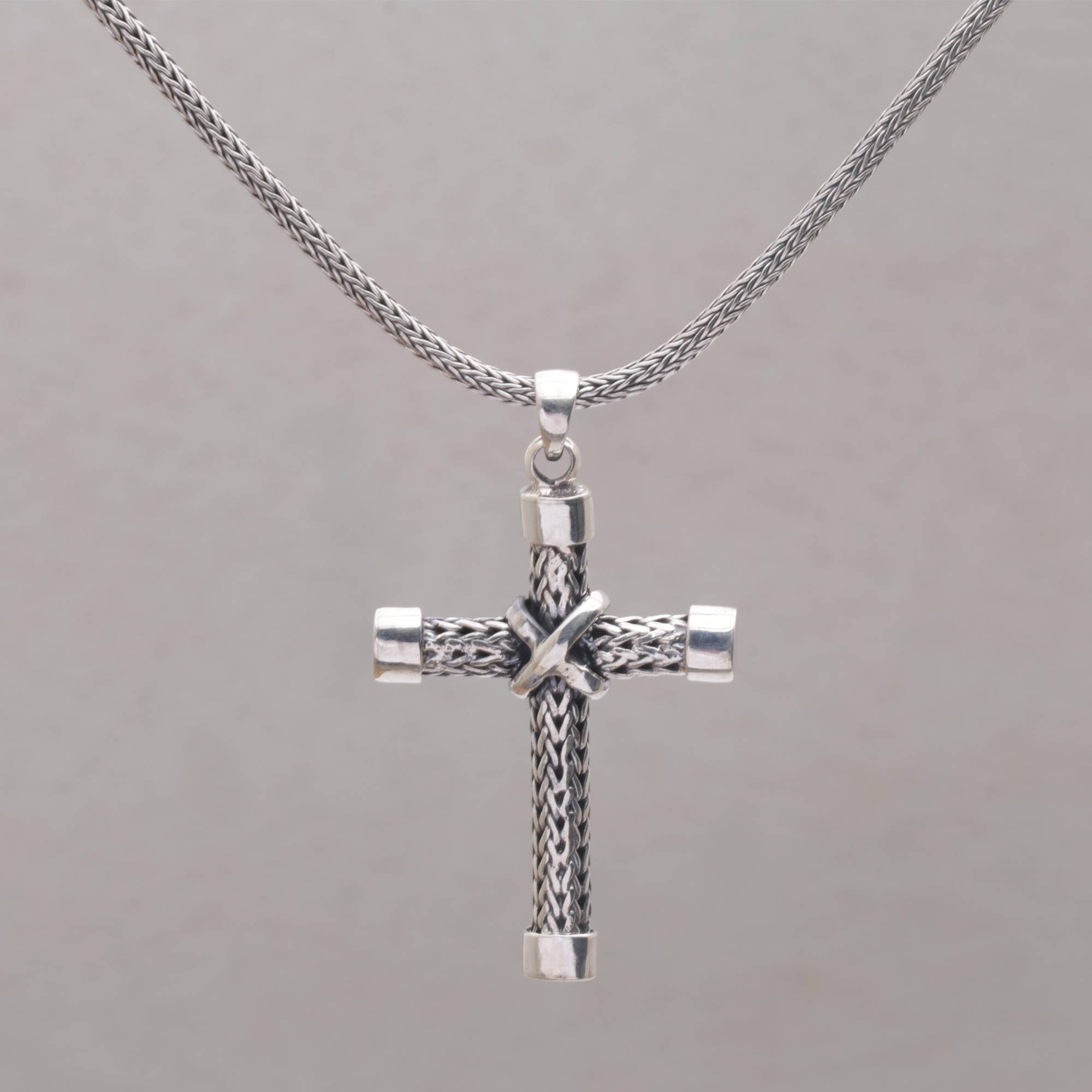 c559aecc8fc0 Sterling Silver Cross Pendant Necklace Handcrafted in Bali - Simple ...