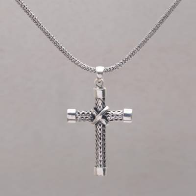 Sterling silver pendant necklace, 'Simple Blessings' - Sterling Silver Cross Pendant Necklace Handcrafted in Bali