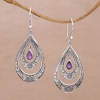 Amethyst dangle earrings, 'Gift of Flowers in Purple' - Artisan Handmade Amethyst 925 Sterling Silver Earrings
