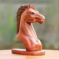 Wood sculpture, 'Spirit Horse' - Handmade Suar Wood Horse Bust Sculpture Made in Indonesia