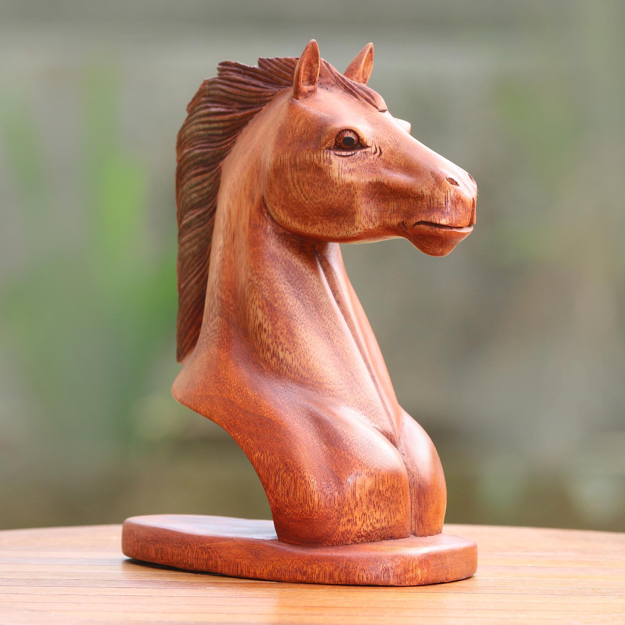 Handmade Suar Wood Horse Bust Sculpture Made In Indonesia Spirit Horse Novica