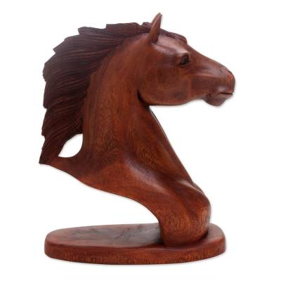 Handmade Suar Wood Horse Bust Sculpture Made in Indonesia