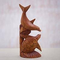Wood sculpture, 'Sea Buddies' - Suar Wood Dolphin and Turtle Sculpture from Indonesia