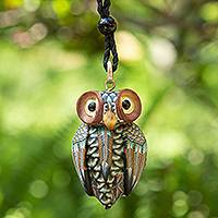 Polymer clay pendant necklace, 'Charming Owl' - Artisan Handmade Clay Owl Pendant Necklace Cotton Cord