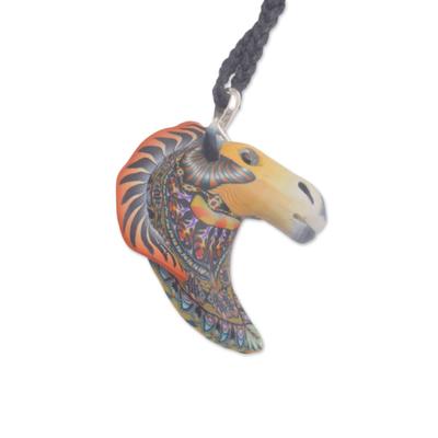 Artisan Handmade Polymer Clay Horse Pendant Necklace