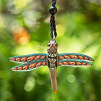 Polymer clay pendant necklace, 'Floating Dragonfly' - Handmade Dragonfly Pendant Necklace Polymer Clay Cotton Cord