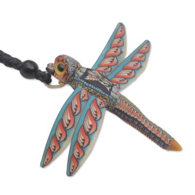 Handmade Dragonfly Pendant Necklace Polymer Clay Cotton Cord