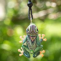 Polymer clay pendant necklace, 'Lithe Tree Frog' - Handcrafted Polymer Clay Tree Frog Necklace from Bali