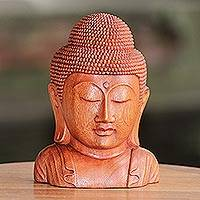 Wood statuette, 'Divine Buddha' - Hand Crafted Balinese Suar Wood Buddha Head Statuette