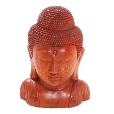 Hand Crafted Balinese Suar Wood Buddha Head Statuette