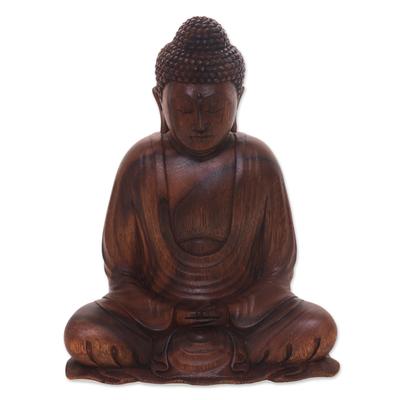 Wood statuette, 'Serenity Buddha' - Hand Crafted Balinese Suar Wood Buddha Meditation Statuette