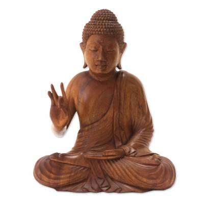 Wood statuette, 'Buddha Peace' - Hand Crafted Balinese Suar Wood Buddha Meditation Statuette