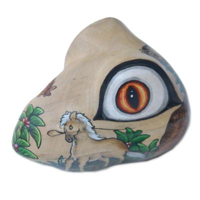 Wood jewelry box, 'Wilderness Frog' - Hand Painted Frog Shaped Crocodile Wood Animal Jewelry Box