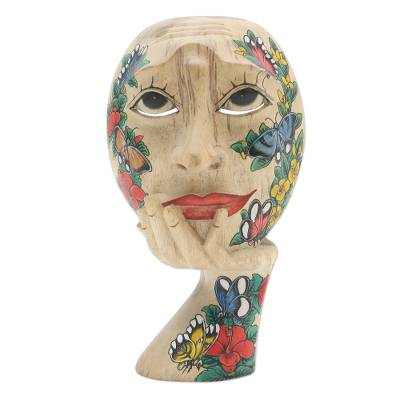 Wood mask, 'Butterfly Smile' - Hand Carved Hibiscus Wood Floral and Butterfly Mask