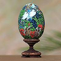 Wood sculpture, 'Fantastic Forest' - Hand Painted Albesia Wood Forest Animal Egg Sculpture