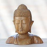 Wood statuette, 'Serenity of Buddha' - Hand Carved Suar Wood Buddha's Head Statuette from Bali