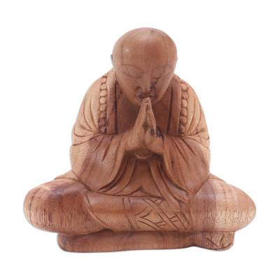 Wood statuette, 'Meditative' - Handcrafted Balinese Suar Wood Meditating Buddha Statuette