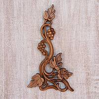 Wood relief panel, 'Grape Vine'