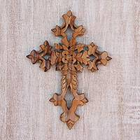 Wood wall cross, 'Faith Blooms' - Hand-Carved Floral Suar Wood Wall Cross from Bali