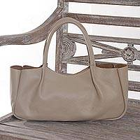 Leather handle handbag, 'Kalibiru Dream' - Handmade Beige Leather Handle Handbag from Bali