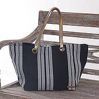 Leather accent cotton shoulder bag, 'Striped Queen' - Handmade Striped 100% Cotton Shoulder Handbag Leather Accent