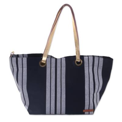 Novica Leather accent cotton shoulder bag, Striped Queen