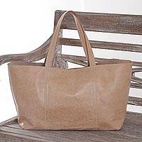 Leather tote shoulder bag, 'Sweet Sugar' - Handmade Brown Leather Tote Shoulder Bag Bali Indonesia