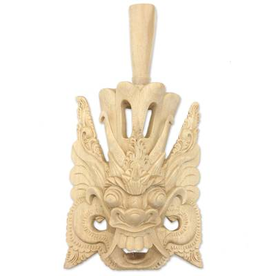 Hand-Carved Crocodile Wood Wall Mask of a Balinese King