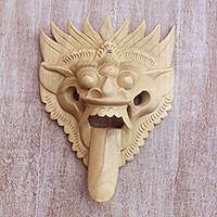 Wood mask, 'Queen of Demons' - Crocodile Wood Mask of a Demon Queen from Bali