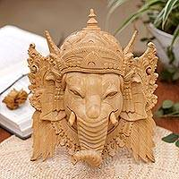Wood mask, 'Ganesha Portrait' - Hand-Carved Lord Ganesha Elephant Head Crocodile Wood Mask