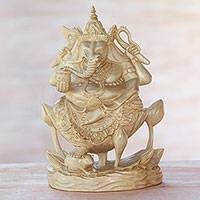 Wood sculpture, 'Ganesha Riding Lotus' - Hand-Carved Crocodile Wood Sculpture of Ganesha from Bali