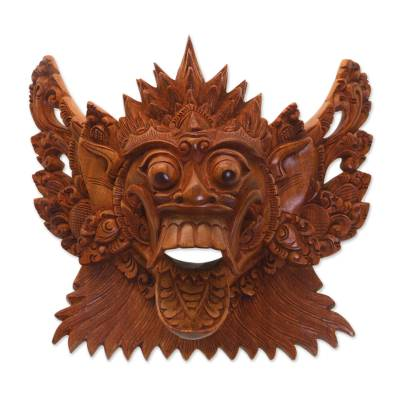 Acacia Wood Wall Mask of a Demon Queen from Bali