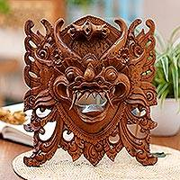 Wood mask, 'Watchful Barong' - Hand-Carved Acacia Wood Wall Mask of Barong from Bali