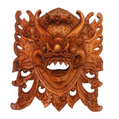 Wood mask, 'Watchful Barong' - Hand-Carved Acacia Wood Wall Mask of Barong from Bali