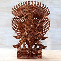 Wood sculpture, 'Garuda and Vishnu' - Hindu Suar Wood Sculpture of Vishnu from Bali