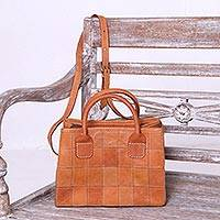 Leather sling, 'Keraton Tiles' - Square Motif Leather Sling Handbag from Java