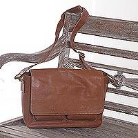 Leather messenger bag, 'Burnt Orange Traveler' - Handcrafted Burnt Orange Leather Messenger Bag from Java