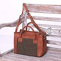 Cotton accent leather handbag, 'Midnight Stripes' - Striped Cotton Accent Leather Handbag from Java